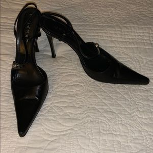Casadei Black Leather Pointy Pumps Heels Size 6.5